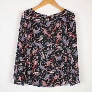 Loft | Peacock print blouse M